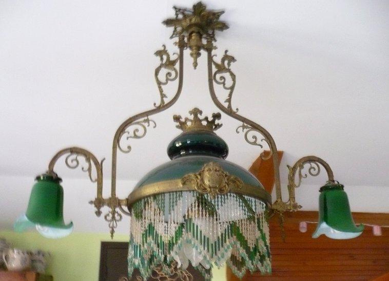 Lustre bronze, opaline et perles